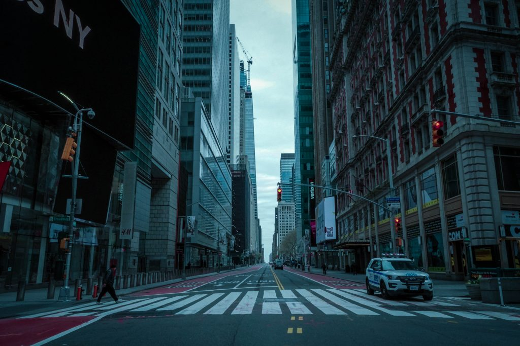 An empty new york city street during the 2020 pandemic
