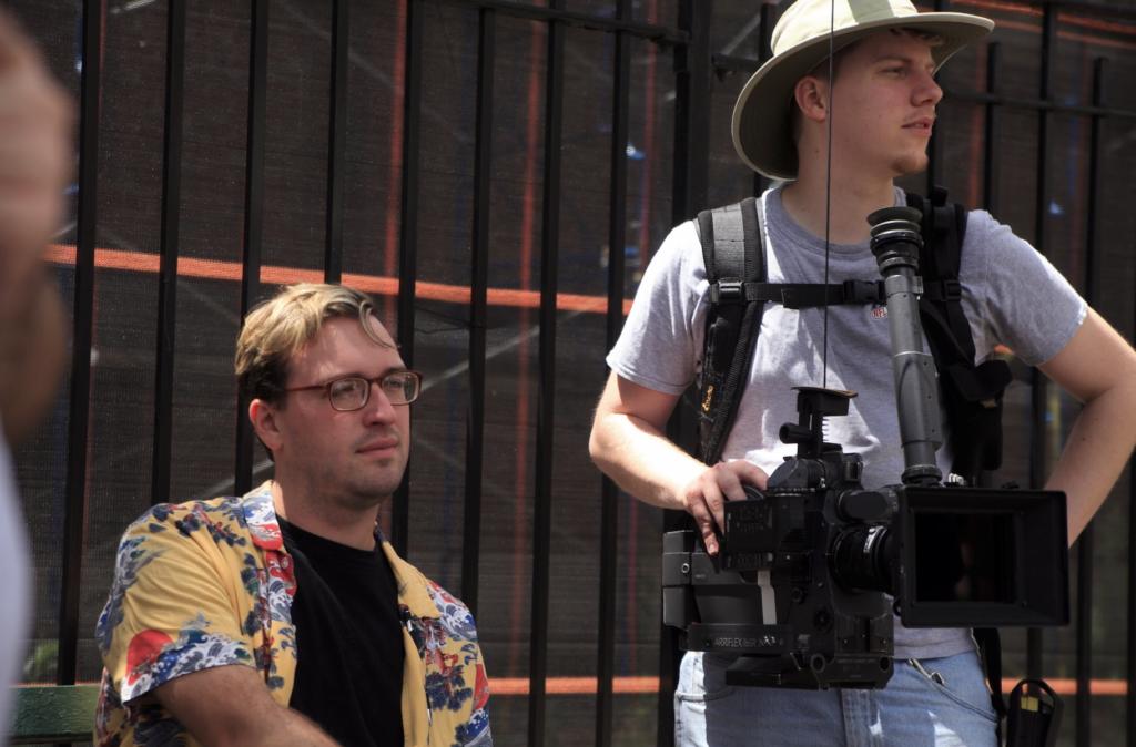 Director watches scene