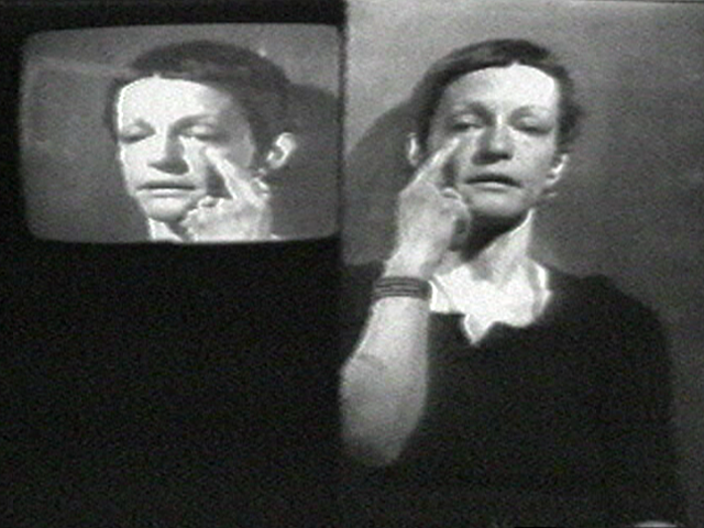 "Still from Joan Jonas, ""Left Side Right Side,"" 1972. Video (black-and-white, sound), 8:50 min. © 2020 Joan Jonas / Artists Rights Society (ARS), New York. Courtesy the artist and Gladstone Gallery, New York and Brussels."