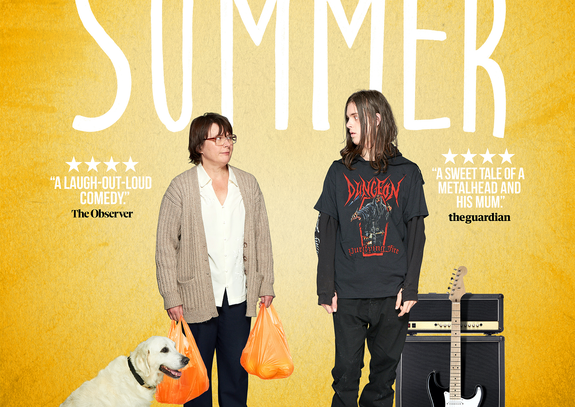 Movie Poster for the film Days of the Bagnold Summer shows two people looking at eachother. The one on the left has a dog by his feet and the one on the right has a guitar and an amp by their feet.