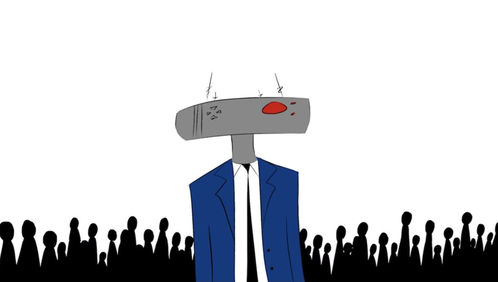 Robot character from Ahmari Ly-Johnson's short film, The Robot Who Loved Art, a grey rectangular head with a red eye, wearing a blue suit with a black tie in front of a crowd of people in silhouette over a white background