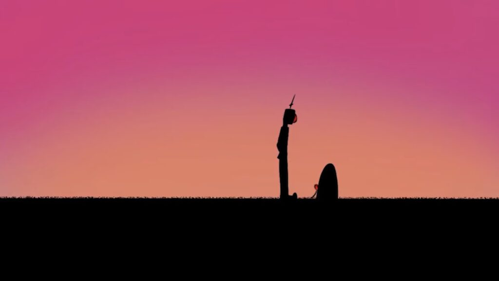 still from Ahmari Ly-Johnson's animated film, The Robot who Loved Art, shows the robot character in silhouette in front of a purple sky standing over a gravestone