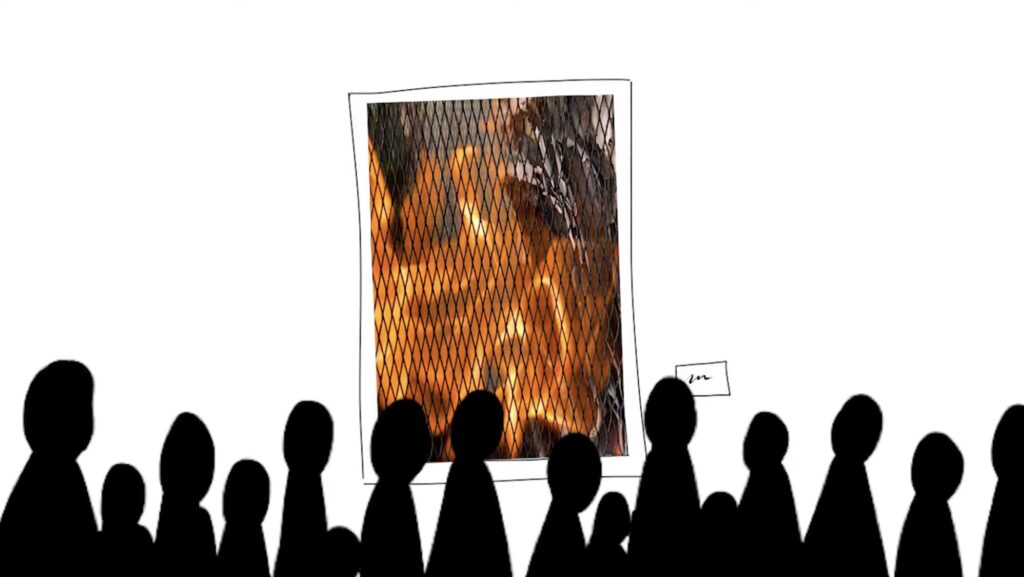 still from Ahmari Ly-Johnson's animated film, The Robot who Loved Art, shows a group of people in silhouette over a white background looking at a piece of art that shows a fire burning.